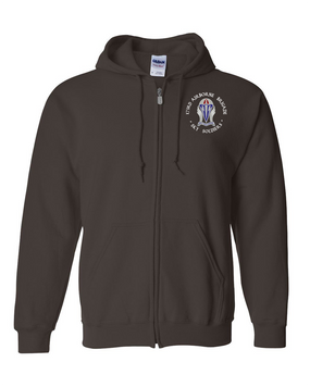 "173rd Airborne Brigade ""Crest""  Embroidered Hooded Sweatshirt with Zipper  (C)"