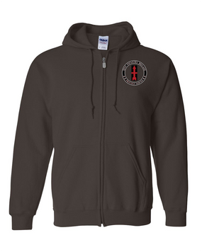 32nd Infantry Brigade Embroidered Hooded Sweatshirt with Zipper-Proud