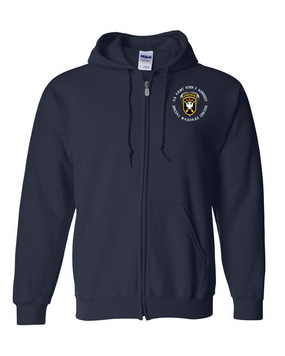 JFK Special Warfare Center  Embroidered Hooded Sweatshirt with Zipper  (C)