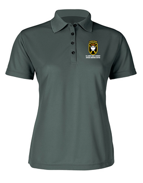 JFK Special Warfare Center  Ladies Embroidered Moisture Wick Polo Shirt