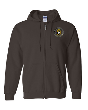 JFK Special Warfare Center  Embroidered Hooded Sweatshirt with Zipper  -Proud