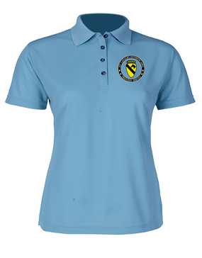1st Cavalry Division (Airborne) Ladies Embroidered Moisture Wick Polo Shirt  -Proud