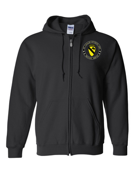 1st Cavalry Division (Airborne) Embroidered Hooded Sweatshirt with Zipper  -Proud