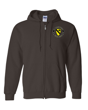 1st Cavalry Division Embroidered Hooded Sweatshirt with Zipper  -Proud