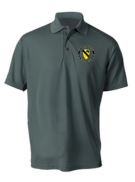 1st Cavalry Division Embroidered Moisture Wick Polo-Proud
