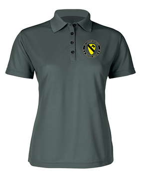 1st Cavalry Division Ladies Embroidered Moisture Wick Polo Shirt  -Proud