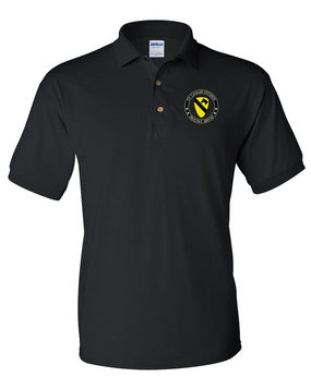 1st Cavalry Division Embroidered Cotton Polo Shirt -Proud