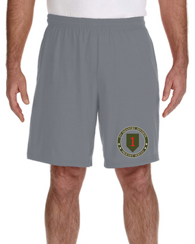 1st Infantry Division Embroidered Gym Shorts-Proud