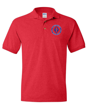 1st Marine Division Embroidered Cotton Polo Shirt -Proud