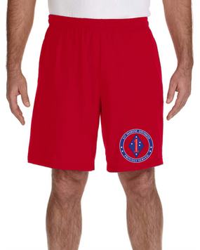 1st Marine Division Embroidered Gym Shorts-Proud