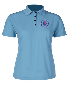 1st Marine Division Ladies Embroidered Moisture Wick Polo Shirt  -Proud