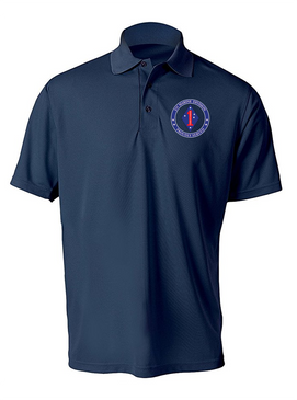1st Marine Division Embroidered Moisture Wick Polo-Proud