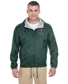 2nd Armored Division Embroidered Fleece-Lined Hooded Jacket -Proud
