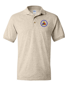 2nd Armored Division Embroidered Cotton Polo Shirt -Proud