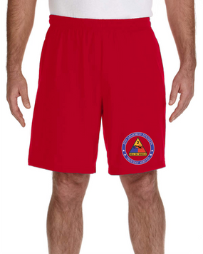 2nd Armored Division Embroidered Gym Shorts-Proud