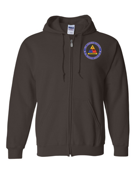 3rd Armored Division Embroidered Hooded Sweatshirt with Zipper -Proud