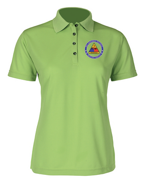 Ladies 3rd Armored Division Embroidered Moisture Wick Polo Shirt -Proud