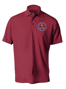 3rd Armored Division Embroidered Moisture Wick Polo -Proud