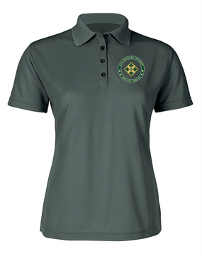 Ladies 4th Infantry Division Embroidered Moisture Wick Polo Shirt  -Proud