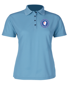 5th Battalion 87th Infantry Ladies Embroidered Moisture Wick Polo Shirt -Proud