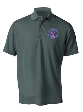 10th Mountain Division Embroidered Moisture Wick Polo -Proud