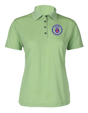 10th Mountain Division  Ladies Embroidered Moisture Wick Polo Shirt -Proud