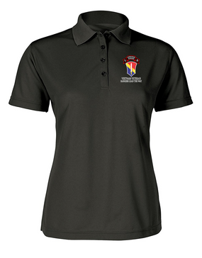 I Field Force Company C  75th Infantry Ladies Embroidered Moisture Wick Polo Shirt