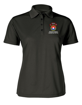 9th Infantry Division  E Company  75th Infantry Ladies Embroidered Moisture Wick Polo Shirt