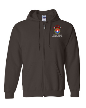 9th Infantry Division Company E  75th Infantry Embroidered Hooded Sweatshirt with Zipper