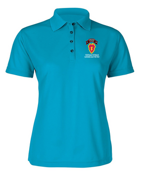 25th Infantry Division F Company  75th Infantry Ladies Embroidered Moisture Wick Polo Shirt