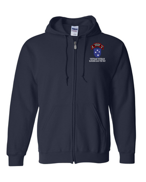 23rd Infantry Division Company  75th Infantry Embroidered Hooded Sweatshirt with Zipper