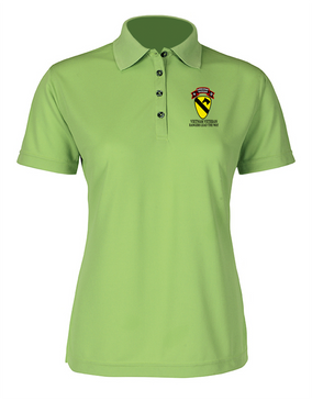 1st Cavalry Division H Company  75th Infantry Ladies Embroidered Moisture Wick Polo Shirt