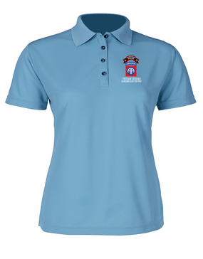 82nd Airborne Division O Company 75th Infantry Ladies Embroidered Moisture Wick Polo Shirt
