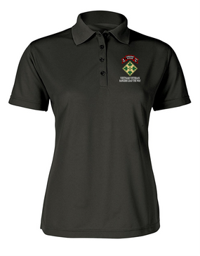4th Infantry Division K Company 75th Infantry Ladies Embroidered Moisture Wick Polo Shirt