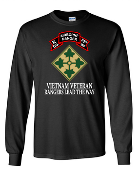 4th Infantry Division K Company 75th Infantry Long-Sleeve Cotton T-Shirt-FF