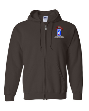 173rd Airborne N Company 75th Infantry Embroidered Hooded Sweatshirt with Zipper