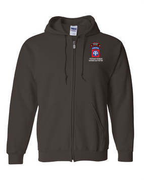 82nd Airborne Division O Company 75th Infantry Embroidered Hooded Sweatshirt with Zipper