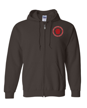 28th Infantry Division  Embroidered Hooded Sweatshirt with Zipper-Proud