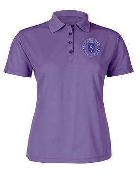 Ladies 8th Infantry Division Airborne Embroidered Moisture Wick Polo Shirt-Proud