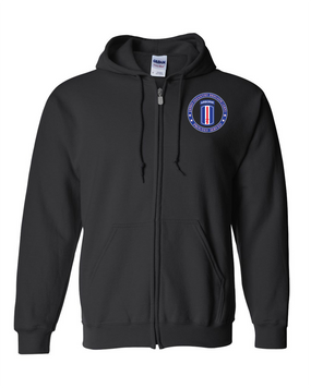 193rd Infantry Brigade (Airborne) Embroidered Hooded Sweatshirt with Zipper-Proud