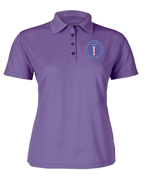 193rd Infantry Brigade (Airborne) Ladies Embroidered Moisture Wick Polo Shirt-Proud