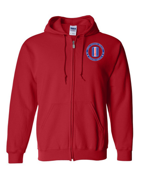 193rd Infantry Brigade Embroidered Hooded Sweatshirt with Zipper -Proud