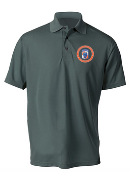 35th Signal Brigade (Airborne) Embroidered Moisture Wick Polo  Shirt-Proud