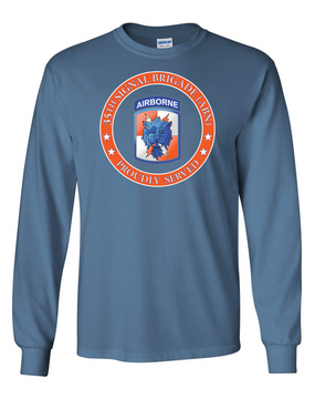 35th Signal Brigade (Airborne) Long-Sleeve Cotton T-Shirt-Proud-(FF)