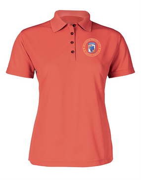 35th Signal Brigade (Airborne) Ladies Embroidered Moisture Wick Polo Shirt-Proud
