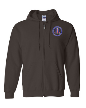 187th RCT Embroidered Hooded Sweatshirt with Zipper-Proud