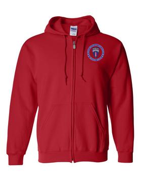 Berlin Brigade Embroidered Hooded Sweatshirt with Zipper-Proud