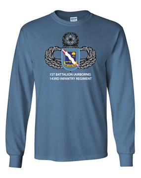 1st Battalion (Airborne) 143rd Infantry Regiment Long-Sleeve Cotton T-Shirt (FF)