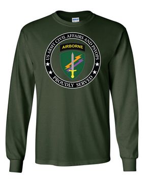 US Army Civil Affairs Long-Sleeve Cotton T-Shirt-Proud  (FF)