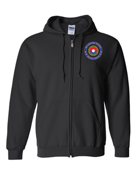 9th Infantry Division Embroidered Hooded Sweatshirt with Zipper-Proud